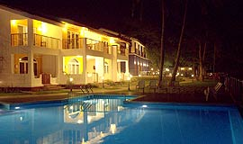 Night view at Acron Waterfront Resort in Goa